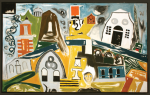 Early, Tom (1914-1967): Solitary town, signed and dated 1966, polymer on canvas, 94.5 x 152.5 cms. Presented by the artist's widow, Mrs Eunice Campbell.