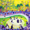 Dyer, John (born 1968): Peckish penguins, Newquay Zoo, signed, acrylic on canvas, 61 x 61cms. Presented by the artist as part of the Heritage Lottery Fund's Darwin 200 celebrations.