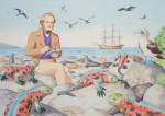Harrold, John (born 1947): Charles Darwin in the Galapagos Islands, signed and dated 2009, gouache, 24 x 32.5cms. Commissioned with funding from the Heritage Lottery Fund as part of the Darwin 200 celebrations.