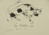 Dyson, Julian (1936-2003): Spotted dog, signed and dated 2003, ink, 25 x 34.5 cms.