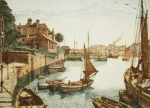 Stant, J.Lewis (working 1931-1955): Falmouth from Flushing, signed, coloured etching, 31.5 x 39.8 cms.