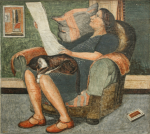 Whicker, Fred (1901-1966): Gwen reading the paper, signed and dated 1950, tempera, 44 x 50 cms. Presented by Jane Beecroft.