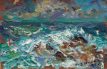 Strang, Michael J. (born 1942): Waves Breaking on Clodgy Point, St Ives, signed and dated 1995, oil on hardboard, 10 x 15.3 cms. Presented by the artist.