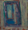 Strang, Michael J. (born 1942): Beach hut mirror, Porthmeor studios, St Ives, signed and dated 1995, oil on hardboard, 15.5 x 14.5 cms. Presented by the artist.