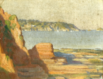 Jameson, Frank (1899-1968): A coastal scene, signed, oil on canvas laid on board, 22 x 27 cms. Presented by Mrs Susan Fraser in memory of her parents, Arthur and Lilian Lee.
