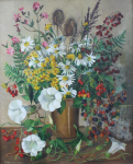 Whicker, Gwendoline J. (1900-1966): Wild flowers and berries, signed, oil on board, 50.5 x 40.5 cms.