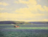 Jameson, Frank (1899-1968): Steaming out into Carrick Roads, signed, oil on canvas, 35.5 x 46 cms.