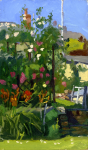 Hewlett, Francis (1930-2012): The artist's garden at Penwerris, Falmouth, oil on board, 27 x 16 cms. Presented by the artist's family.
