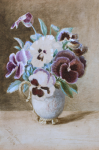 Genn, Ellen (1827-1897): Pansies, signed and dated 1884, watercolour, 26.5 x 18 cms. Presented by Jill Armitage-Lewingdon in memory of Joan Rhodes (nee Armitage).