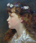 Anderson, Sophie (1823-1903): A sketch of a young girl with a garland of flowers in her hair, signed, oil on board, 30.5 x 24.5 cm.