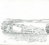 Bowen, Donald (born 1917): The countryside, St Austell in the distance, signed and dated 1971, pencil on paper, 22.3 x 22 cms. Presented by the artist.