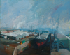 Pinkett, Neil: Dry Dock at Falmouth, signed, oil on canvas, 121 x 152 cms. Presented by Valender, Richard. Bequest.