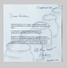Penrose, Antony (born 1947): Letter from Penrose re. 'Day Jar', signed and dated 4 September 2011, letter with illustrations, 21 x 21 cms. New Expressions 2 supported by MLA Renaissance South West and the National Lottery through Grants for the Arts. Commission.