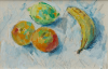 Ryan, Adrian (1920-1998): Still life - fruit on a tablecloth, signed, 18 x 28 cms.