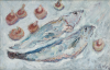 Ryan, Adrian (1920-1998): Fish and mushrooms, signed, oil on canvas, 30.5 x 46 cms.