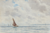 Ingram, William Ayerst (1855-1913): Sailing on the Carrick Roads, signed, watercolour, 36 cms x 54.5 cms.
