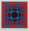 Vasarely, Victor (1908-1997): Composition red and blue, signed, screenprint (269 of an edition of 350), 29.9 x 26.1 cms. Bequeathed by Margaret Whitford through the Art Fund. © ADAGP, Paris and DACS, London 2012. Bequest.