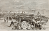Unknown artist (19th century): Laying the foundation stone of the new docks at Falmouth, dated 1860, inscribed Laying the Foundation-Stone of the new docks at Falmouth - Viscount Falmouth addressing the assemblage, wood engraving, 26.4 x 40 cms. Presented by Lister, Mr Martin.