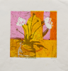 Gurney, Sophie (1919-2011): White flowers and yellow coffee pot, signed, Silk screen print (1 of an edition of 3), 28 x 28 cms. Presented by Perry, Ivor.