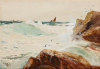 Carter, Richard Harry (Henry) (1839-1911): The wind freshening, North Rocks, Sennen, signed, watercolour on pasteboard, 27 x 38.5 cms.