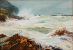 Carter, Richard Harry (Henry) (1839-1911): A Sou'wester, Pedmendu Point, near Lands End, signed, watercolour on pasteboard, 27 x 38.5 cms.