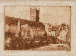 Unknown artist: The Parish Church, Falmouth, etching, 15 x 20 cms. Given in memory of Alec and Althea Bailey.