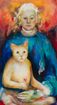 Gardner, Grace (1920-2013): What have I wrought?, signed and dated 2005, oil on board, 52.5 x 29 cms. Presented by Gardner, Grace. Bequest.