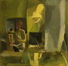 Mabbutt, Mary (born 1951) : Self portrait 2: Shaft of light, signed and dated February 1997, oil on canvas, 30 x 30 cms. Presented by Gardner, Grace. Bequest.