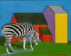 Bolger, Bill: Zebra, Newquay Zoo, signed and dated 2013, oil on board, 33 x 41 cms.