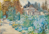 Tuke Sainsbury, Maria (1861-1947): Garden in full bloom, signed, Watercolour, 25.5 x 36 cms.
