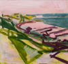 Carter, Simon (born 1961): The beach and the pier, signed and dated 2011, acrylic on paper, 64.5 x 67.5 cms. Presented by Priseman, Robert. © Simon Carter.