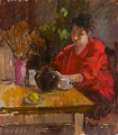 Algar, Patricia (1939-2013): Alice in red, signed, oil on board, 26.6 x 23.3 cms. Presented by Alice Carr on behalf of Patricia Algar Ltd.