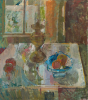 Algar, Patricia (1939-2013): Still life with blue dish, signed, inscribed 'Still life with blue dish, Pat Algar' on back, oil on board, 56.6 x 50.5 cms. Presented by Alice Carr on behalf of Patricia Algar Ltd.