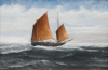 West, John Henry (1856 - 1938): Penzance Lugger, dated 1900, inscribed Penzance Lugger. Painted by J.H. West, a boatsman and ship's carpenter, Falmouth. Painted in the cabin of 5 ton yacht with the aid of an oil lamp riding at her moorings in Falmouth Harbour, Nov 1900, gouache, 17 x 24 cms. Gifted by Prudence Anne Bone. Donation.