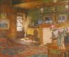 Freeman, Winifred (1866-1961): The Drawing Room, Churchfield, Falmouth, watercolour, 27 x 32 cms. Presented by Powell, Barbara.
