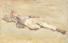 Tuke, Henry Scott, RA RWS (1858-1929): Basking, signed and dated 1899, inscribed H.S. Tuke 99, watercolour, 13.9 x 21.4 cms. RCPS Tuke Collection. Loan.