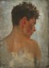 Tuke, Henry Scott, RA RWS (1858-1929): Sketch portrait for 'Under the Western Sun', oil on canvas board, 36.6 x 26.8 cms. RCPS Tuke Collection. Loan.