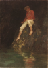 Tuke, Henry Scott, RA RWS (1858-1929): Boy Fishing on Rocks, oil on canvas board, 36.7 x 26.4 cms. RCPS Tuke Collection. Loan.