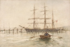 Tuke, Henry Scott, RA RWS (1858-1929): Barque 'Jorgen Bang', signed and dated 1899, inscribed H.S. Tuke 1899, watercolour, 28.4 x 41 cms. RCPS Tuke Collection. Loan.