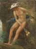Tuke, Henry Scott, RA RWS (1858-1929): Hermes at the Pool, oil on canvas laid down on board, 48 x 36 cms. RCPS Tuke Collection. Loan.