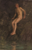 Tuke, Henry Scott, RA RWS (1858-1929): Nude Boy on Rocks, signed and dated 1907, inscribed Signed and dated H.S. Tuke 1907, oil on canvas, 55.7 x 35.6 cms. RCPS Tuke Collection. Loan.