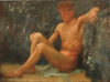 Tuke, Henry Scott, RA RWS (1858-1929): Bather Seated, oil on panel, 26.5 x 35 cms. RCPS Tuke Collection. Loan.