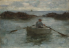 Tuke, Henry Scott, RA RWS (1858-1929): Man rowing a Dinghy, oil on panel, 18.8 x 26.6 cms. RCPS Tuke Collection. Loan.