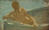 Tuke, Henry Scott, RA RWS (1858-1929): Sketch for August Blue, oil on panel, 12.5 x 20 cms. RCPS Tuke Collection. Loan.