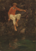 Tuke, Henry Scott, RA RWS (1858-1929): Charlie Mitchell on the Rocks, oil on panel, 38.7 x 27.3 cms. RCPS Tuke Collection. Loan.