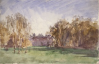 Tuke, Henry Scott, RA RWS (1858-1929): Shillinglee in Autumn, signed and dated 1908, Inscribed bottom left Shillinglee in Autumn, watercolour, 13.7 x 21.5 cms. RCPS Tuke Collection. Loan.