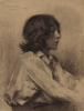Tuke, Henry Scott, RA RWS (1858-1929): Portrait of an Italian Youth, signed and dated 1889, charcoal on laid paper, 20 x 23.2 cms. RCPS Tuke Collection. Loan.
