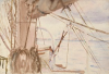 "Tuke, Henry Scott, RA RWS (1858-1929): From the deck of the Grace Harwar, signed and dated 1908, Inscribed ""Bremerhaven from Nordenham from the deck of the Grace Harwar."", watercolour, 17.6 x 26 cms. RCPS Tuke Collection. Loan."