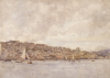 Tuke, Henry Scott, RA RWS (1858-1929): Falmouth from the Harbour, signed and dated, Inscribed Falmouth from the Harbour bottom right in pen cil on front of w/c, watercolour, 25.2 x 35.3 cms. RCPS Tuke Collection. Loan.