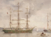 Tuke, Henry Scott, RA RWS (1858-1929): Green Barque, signed, watercolour, 26.5 x 36.6 cms. RCPS Tuke Collection. Loan.